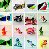 Set of triangle geometric 3d forms. Modern info royalty free illustration