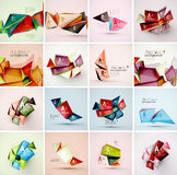 Set of triangle geometric 3d forms. Modern info Royalty Free Stock Photos