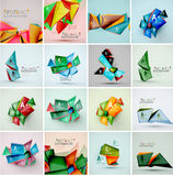 Set of triangle geometric 3d forms. Modern info Royalty Free Stock Photo