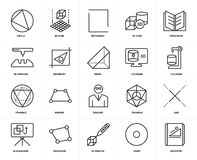Set of  Triangle, Geometry, Point, Trapezium, Line, Teacher, 3d printing, Circle, Cylinder, Open book icons. Set Of 20 icons such as Geometry, Point, 3d printer Stock Image