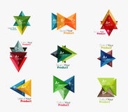 Set of triangle infographic layouts with text and options Royalty Free Stock Image