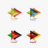 Set of triangle option infographic layouts. Select your product concept, make a choice idea stock illustration