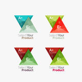 Set of triangle option infographic layouts. Select your product concept, make a choice idea royalty free illustration
