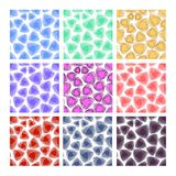 Set of triangle patterns in different color variants. Textile color sampler.  Royalty Free Stock Photos