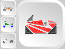 Set of triangle style motorcycles color logos. Bagger, enduro, classic, sport Royalty Free Stock Images