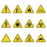 Set of triangle warning signs. Warning roadsign icon. Danger-warning-attention sign. Yellow background. Set of triangle warning signs. Warning roadsign icon Royalty Free Stock Photo