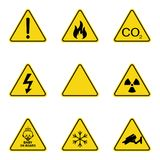 Set of triangle warning signs. Warning roadsign icon. Danger-warning-attention sign. Yellow background. Set of triangle warning signs. Warning roadsign icon royalty free illustration