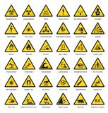 Set of triangle yellow warning sign hazard dander attention symbols chemical flammable security radiation caution icon. Vector illustration Stock Photo