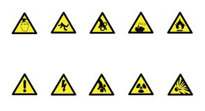 Set of triangle yellow warning sign. Vector, illustration. Set of triangle yellow warning sign. Vector Royalty Free Stock Image