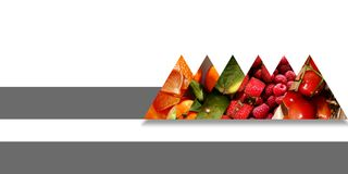 Set of triangles full of fruits and bound by an abstract ribbon. Set of six triangles bound by a dark gray ribbon and filled with different fruits: orange pieces Stock Images