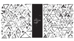 Set of 123 triangles, made with hand and liquid ink, freehand, with lots of splashes and blob brush smears. Vector black and white Royalty Free Stock Photo