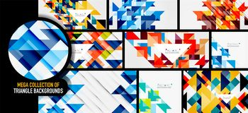 Set of triangles repetition mosaic backgrounds. Vector mega collection vector illustration