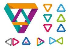 Set of triangular modern frame or logo. Editable Clip Art. Stock Image