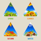 Set of triangular seasonal backgrounds. Icons or design elements Stock Photos
