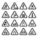Set of Triangular Warning Hazard Signs black Stock Images
