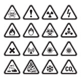 Set of Triangular Warning Hazard Signs black. Set of Triangular-Warning Hazard Signs black Stock Image
