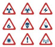 Set of Triangular Warning Hazard Signs Royalty Free Stock Image
