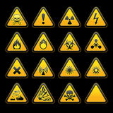 Set triangular warning signs Hazard symbols Stock Images