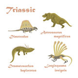 Set Triassic reptile dinosaur Royalty Free Stock Images