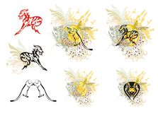Set of tribal animals with floral splashes Stock Images