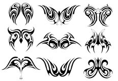 Set of tribal art tattoo Stock Image