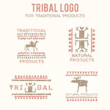 Set of 4 tribal badges for traditional and natural products, ethnic and tribal store Royalty Free Stock Image