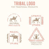 Set of 4 tribal badges for traditional and natural products, ethnic and tribal store Stock Images