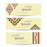 Set of 3 tribal banners. Ethnic business background, vector illu. Stration royalty free illustration