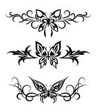 Set tribal with butterflies, tattoo Stock Photography