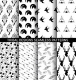 Set of Tribal designs seamless patterns Stock Photo