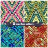 Set of tribal doddle rhombus seamless pattern Stock Images