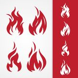 Set tribal fire abstract vector icon isolated on the different background. Simple flaming abstract vector icon isolated on the white background. Flaming fire Stock Photography
