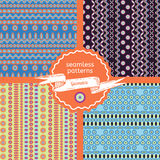 Set of tribal geometric seamless patterns Stock Images