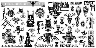 Set of tribal icons and musical notes. Ancient elements and symbols of the Maya. stock illustration