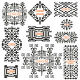 Set of tribal logos. Ethnic style. American Indian or asian motifs. Black vector illustration. Good for frames, borders and like a background. Abstract vector illustration
