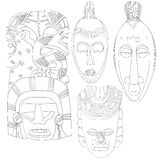 Set of Tribal Masks Line Art Hand Drawn African Mayan Ceremonial Mask No Fill. Set of 4 tribal masks line art illustrations from a variety of different cultures Stock Images