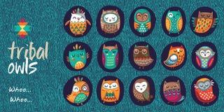 Set of tribal owls Stock Photos