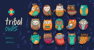 Set of tribal owls Stock Images