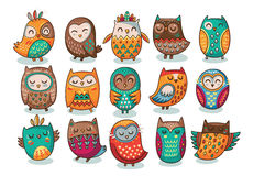 Set of tribal owls Royalty Free Stock Photos