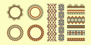 Set of Tribal pattern brushes and frames in geometric style. stock illustration