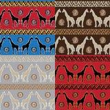 Set of   tribal   Seamless Pattern with giraffe Stock Photo