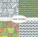 Set of tribal seamless patterns. Royalty Free Stock Photo