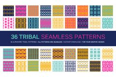 Set of 36 tribal seamless patterns. Indian geometric backgrounds. Stylish Navajo fabric. Modern abstract Wallpaper. Vector illustration. Colour version Stock Photo