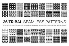 Set of 36 tribal seamless patterns. Indian geometric backgrounds. Stylish Navajo fabric. Modern abstract Wallpaper. Vector illustration. Black and white Stock Photo