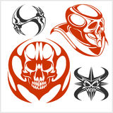 Set of tribal skulls for tattoo. Isolated on white Stock Photos