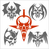 Set of tribal skulls for tattoo. Royalty Free Stock Photography