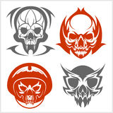 Set of tribal skulls for tattoo. Royalty Free Stock Photo