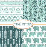 Set of tribal striped seamless pattern. Geometric backgrounds Stock Photos