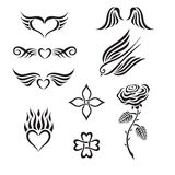 Set of tribal tattoo including hearts, rose, swall Royalty Free Stock Photos