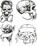 Set of tribal tattoo sketches with skulls Royalty Free Stock Photos